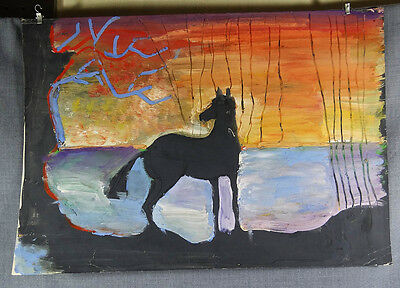 Stallion Horse Mare Equine Silhouette Figure Seascape Gouache Painting Drawing