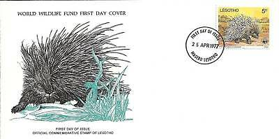 (44144) CLEARANCE Lesotho WWF FDC Porcupine - 25 April 1977