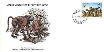 (44142) Lesotho WWF FDC  Baboon - 25 April 1977