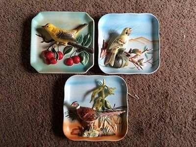 Vintage 1960's Retro Napco 3D Bird Wall Plaques (Set of 3) , Chalkware, Japan