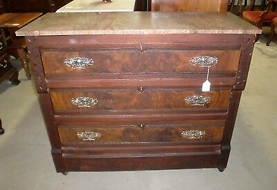 Antique Victorian Marble Top 3 Drawer Dresser Chest