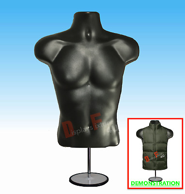 NEW Male Mannequin Hanger Torso Form + Stand,Display Apparel Men T-Shirt - BLACK