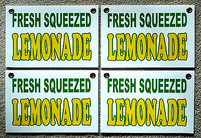 """4 Fresh Squeezed LEMONADE Coroplast SIGNS New! 8"""" X 12"""" Concession Stand"""