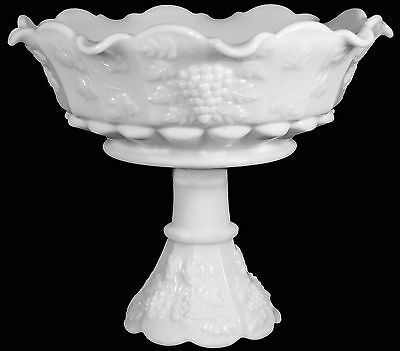 "Vintage Westmoreland Milk Glass Paneled Grape 9.5""d Lipped Rim Open Compote Bowl"