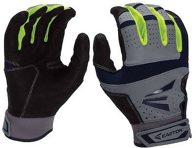 1 Pair Easton HS9 Neon Adult Large Navy / Optic / Grey Batting Gloves A121837