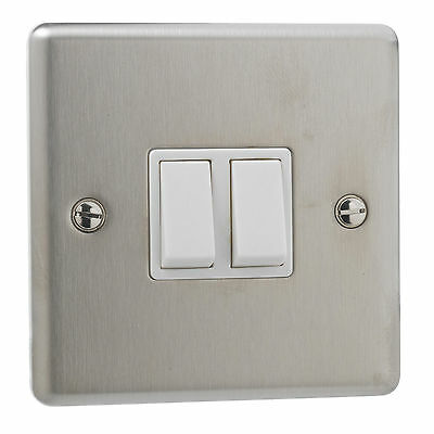 British General Stainles Steel 10A Double 2 Way 2 Gang Wall Light Switch White