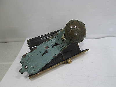 Vintage RHC Brass Door Backplate, Knobs & Lockset- Art Nouveau