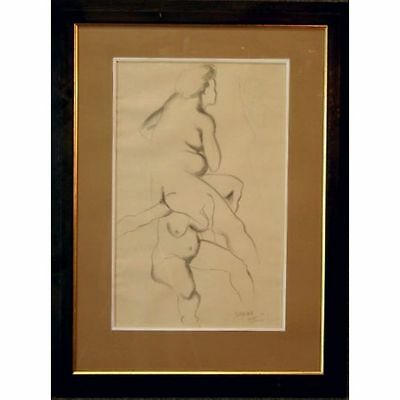 Original Signed Framed Pencil Sketch Nude Female Life Drawing Studio Study
