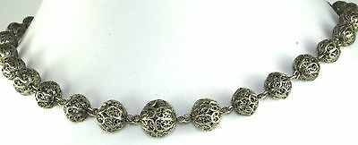 Victorian Antique Sterling Silver Filigree Beads Necklace