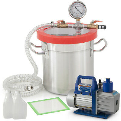 5CFM 1/2HP Vacuum Pump w/ 3 Gallon Vacuum Chamber Silicone Degassing Expoxy Kit