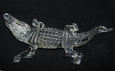 Crystal Glass Alligator Crocodile Figurine Mouth Open 7 1/ 2 Inches Long Vintage