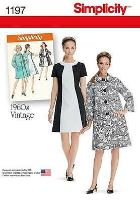 SIMPLICITY SEWING PATTERN MISSES' VINTAGE 1960s DRESS & LINED COAT  6 - 24 1197