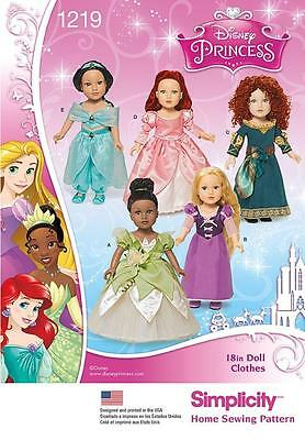 "SIMPLICITY SEWING PATTERN Disney Princess 18"" Doll Clothes Rapunzel Merida 1219"