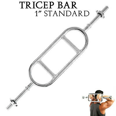 "1"" Standard Tricep Bar Solid Steel Biceps Weight Liftting Hammer Spinlock Collar"