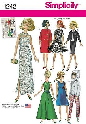 """SIMPLICITY SEWING PATTERN Vintage Doll Clothes for 11 1/2"""" Doll 1242 A"""