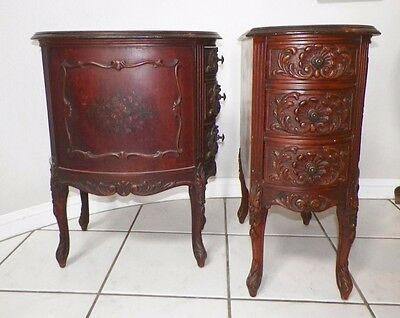 Pair Vintage Antique French Carved Curved Front Handpainted Floral Nightstands