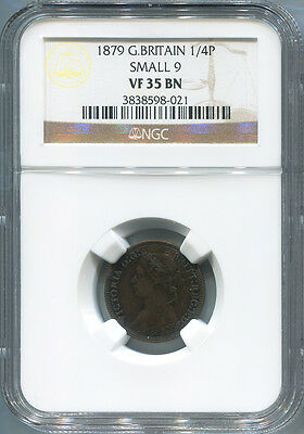 1879 Great Britain Farthing, 1/4 Penny, Small 9, NGC VF 35 Brown.