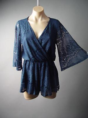 Navy Blue Lace Embroidery Wrap Kimono Caftan Sleeve Playsuit 147 mv Romper S M L