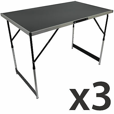 Set of 3 Folding Trestle Tables Portable Aluminium Height Adjustable 100cm/3' 4""