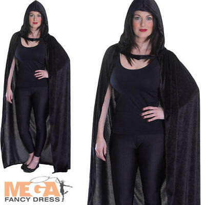 Velvet Black Hooded Cloak Fancy Dress Men Ladies Vampire Halloween Adult Costume