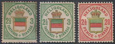 BC HELIGOLAND 1867-68 QV Sc 20 (2x) & 21 FULL SET OF REPRINTS MINT/UNSD (CV$570)