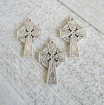 Lot 3 CROSS Celtic Making Rosary Crucifix Supplies Parts ITALY C153 finsh SILVER