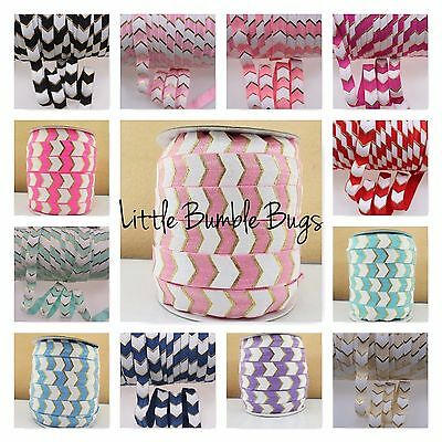Foe 5/8 Fold Over Elastic By The Metre - Big Chevron With Foil & Oil