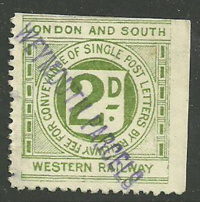 London And South Western 2D Railway Letter Stamp Weymouth Parcels In Violet