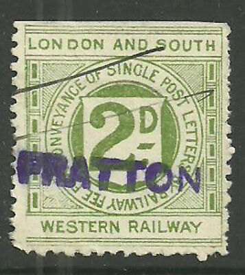 London And South Western 2D Railway Letter Stamp Fratton In Violet