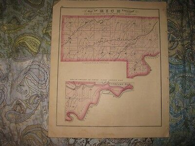 Antique 1874 Rice Madison Township Rollersville Sandusky County Ohio Handclr Map