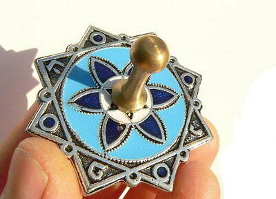 Hanukkah Dreidel Blue Sevivon Jewish Spinning Top Game, Flowers Made in Israel