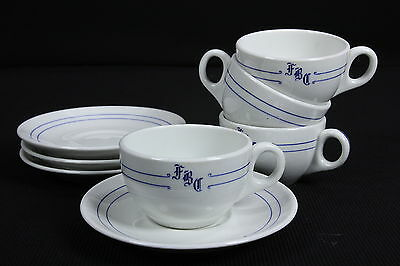 Mayer China Restaurantware Coffee Cups & Saucers 4 Sets 'FBC' Topmark Blue White
