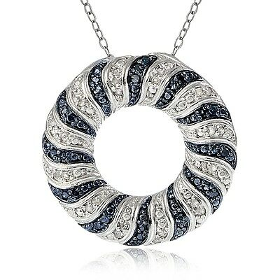 0.50ct TDW Blue & White Diamond Wave Eternity Necklace