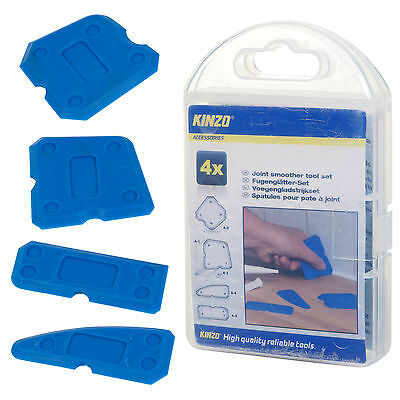 Kinzo 4pc Joint Smoother Tool Sealant Profiling Set DIY Silicone Spatula New