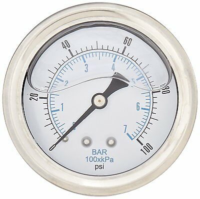 NEW Liquid Filled Hydraulic Pressure Gauge 0 - 100 PSI (Back Mount)