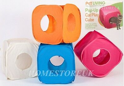 Cube Pop Up Pet Pussy Cat Nip Kitten Rabbit Fun Play Box Toy Popup Fold Away
