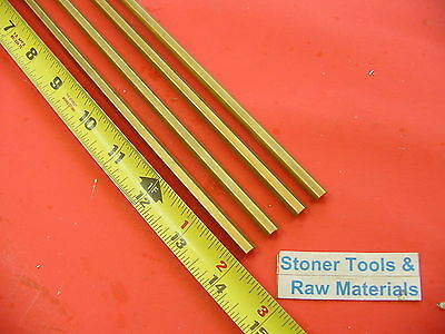 "4 Pieces 1/4"" C360 BRASS HEX BAR 14"" long New Lathe Bar Stock .250"" 1/2 Hard"
