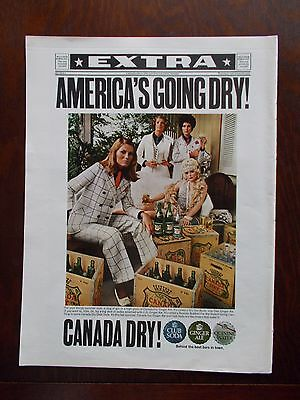 "CANADA DRY ""AMERICA'S GOING DRY"" 1968 VINTAGE MAGAZINE AD  inv#132"