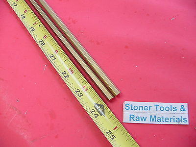 "2 Pieces 1/4"" C360 BRASS HEX BAR 24"" long New Lathe Bar Stock .250"" 1/2 Hard"