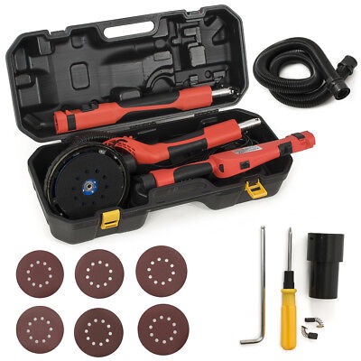 6FT Swivel Electric 5 Speed Drywall Sander 6PCS Sand Paper + Portable Case, Red