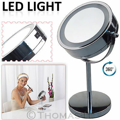 Round Magnifying LED Illuminated Bathroom Make Up Shaving Cosmetic Vanity Mirror