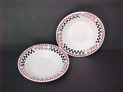 "Gibson Coca-Cola Brand Dinnerware Two 8"" BOWLS Red Black Checkered Coke"
