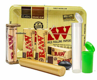 10+ Items-1 1/4 RAW ROLLING BUNDLE - ROLLERS,PAPERS,TRAY,CASE,TIPS,TUBE,