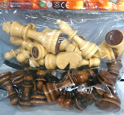 """Just Chess Pieces - Large Wood Chess Pieces with 9cm (3.6"""") King"""