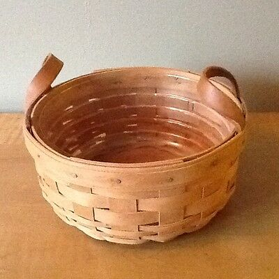 Longaberger Warm Brown Button Basket with Protector