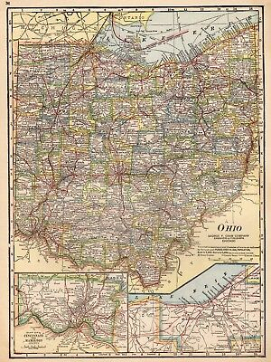 Antique Ohio Map.1920 Antique Ohio Map Vintage Map Of Ohio State Map Gallery Wall Art