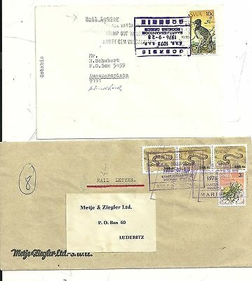 2 x SOUTH WEST AFRICA RAILWAY LETTERS 1 WITH LABEL 1976/8