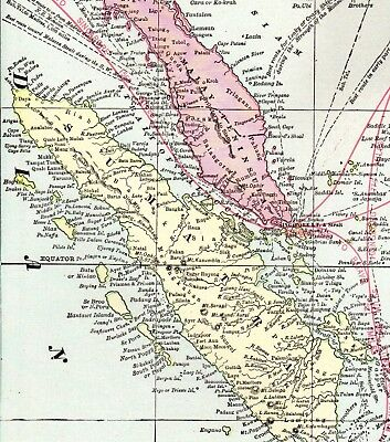 1904 Antique EAST INDIES Map Pacific Islands Map Philippines Borneo Map 1836