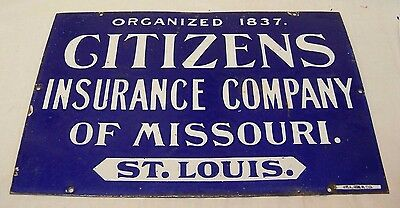 Antique Citizens Insurance Company of Missouri St. Louis Porcelain Sign