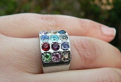 Hoshen Stones Ring 17.3 mm, 12 Bible Tribes of Israel Choshen Gems Breast Plate